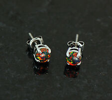 1 Pair 316L Surgical Steel W/ 5 MM Multi- Color Fire Opal Earrings Ear Stud  20g