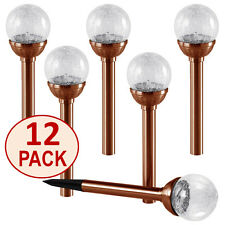 12 Pk.Crackle Glass Solar Copper Path Lights Color Changing & White:SOLAscape