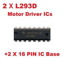 2 x L293D Motor Driver ICs Plus 2 x 16 Pin IC Base...