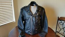Mens Black Leather Motorcycle Jacket With Vintage Harley Davidson Patch /Size 46