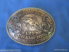 Mortenson Silver Custom Rodeo Trophy Belt Buckle Rubies Awards Bareback Rider