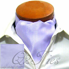 MEN'S Mini Stripes LAVENDER Slipknot Style Casual Ascot Cravat & Hanky 2pcs Set