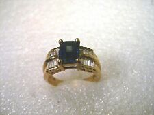 Sterling Silver with Gold Wash CZ Sapphire and Clear Baguette Ring, sz. 10.5, KL