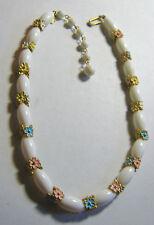 Vintage Trifari Necklace Metal Flower Findings White Beads