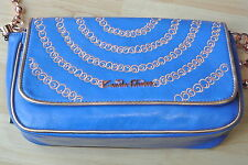 Zandra Rhodes DESIGNER blue/gold detail shoulder bag long pearl gold chain strap