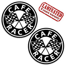 2 VINYL STICKERS CAFE RACER DECAL CHEQUERED FLAG MOTORCYCLE RACE AUTO TUNING D52