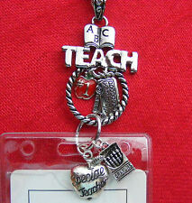 Teacher School ID Badge Tag Key Eyeglass Holder Necklace Lanyard School Charms