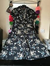 BNWOT MONSOON BLACK FLORAL PRINT BUTTON THROUGH SHIRT DRESS SIZE 20/22