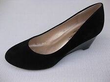 Pierre Dumas Womens Shoes NEW $48 Nelly-1 Black Suede Patent Wedge 9 M