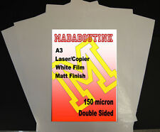 20 Sheets A3 Laser & Copier Double Sided Matt White Film 150micron