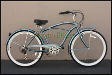 "Gray Micargi Pantera 7-Spd Men's 26"" Adult Geared Beach Cruiser Bike Bicycle NEW"