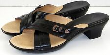 Sofft Leather Sandals Slides Black Western Buckle Womens 8.5 M