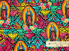 Lady of Guadalupe Icon Floral Religious Fabric by the 1/2 Yard   #4801M