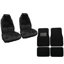 New Car Truck Synthetic Sheepskin Seat Covers & Carpet Floor Mats Black Set