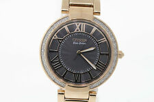 Ladies Citizen EM0103-57H Eco-Drive Rose Gold-Tone Diamond Accent Watch