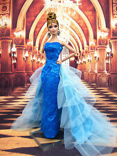 Blue Oscar Designer Silkstone Barbie Fashion Royalty Evening Dress Outfit Gown