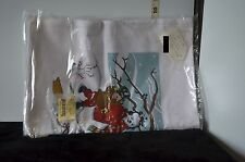Vintage Set of 2 Hand Screen Print Kitchen Towels Featuring Snowman & Child NIP