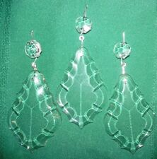 "3 VTG 5"" Drop French Cut Crystal 3.5"" PENDALOGUE jewel PENDANT Prism Chandelier"