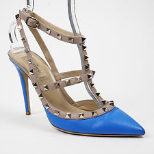 $995 Valentino 39/8.5 Rockstud Blue Leather Ankle Strap Slingback Pointed Pump