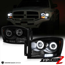 [SINISTER BLACK] 2006-2008 Dodge Ram 1500 2500 3500 CCFL Halo LED Headlights SET