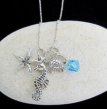 Ocean Life Charms Necklace,Under Sea Animal Charms,Star Fish, Sea Horse,Turtle