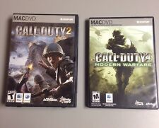 Call of Duty 2 & 4 Modern Warefare Lot Mac OSX DVD Computer Game Complete In Box