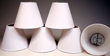6 Candle Lamp Chandelier Shades -Clip on Bulb -White Linen Fabric -New!