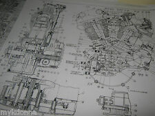 HARLEY DAVIDSON Plan Drawing Print 61ci KNUCKLEHEAD Engine BLUEPRINT EL HD