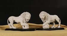 Medici & Vacca Lions Carrara Marble White on Black (pair) Stunning Centrepiece
