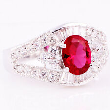 1290 Lady/Women's Red  Sapphire 14KT White Gold Filled Wedding Ring Gift size 7
