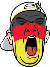 "Germany Football Fan Face Flag Soccer Car Bumper Sticker Decal 4"" x 5"""