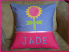 CHILD'S/GIRS PERSONALISED NAME CUSHION COVER/NURSERY/SHOWER/GIFT - SUNFLOWER -
