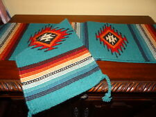 "New Southwest Saltillo  Hand Woven Table Runner Wool 10"" x 80 "" Southwestern"