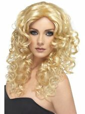 Ladies Girls Teens Wonder Woman Blonde Wig 80's Glamour Fancy Dress Long Curly