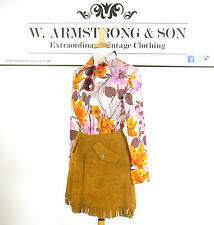 Vintage 70s Brown REAL SUEDE LEATHER Fringed Flippy Mini Skirt Boho Hippie UK 10
