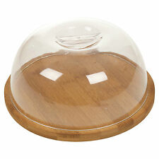 Bamboo Cheese Board & Acrylic Dome Cover Serving Storage Platter Tray Wooden New