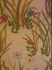 1940-50's Vintage Cream Wallpaper Floral Pink Blue Green Leaves 3 Triple Rolls