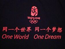 Beijing 2008 Olympics One World & Dream China Tourist Black Soft T Shirt L