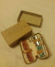 Vintage style small brown Gillette men's grooming set with its box **