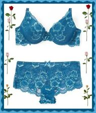 36C New York Elegance Blue Floral  Lace PushUp UW Bra L Boyshorts 2pc Set $50