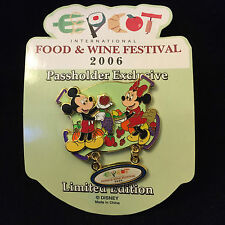 Disney Epcot Food & Wine 2006 Passholder Mickey Minnie Mouse Pin on Pin Dangle