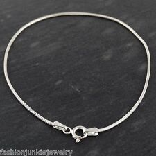"8"" Sterling Silver Snake Chain Bracelet - 925 Italy 1mm 030 Spring Clasp NEW"