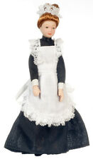 Dollhouse Miniature Doll - Maid Black Dress Porcelain 1:12 Scale