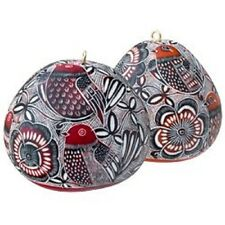#4350 Dozen Wholesale Carved Red Lace Bird Gourd Ornament Tree Holiday Christmas