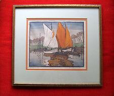 Original HELENE TUPKE-GRANDE Signed Color Woodcut Print  c.1920's Listed Artist