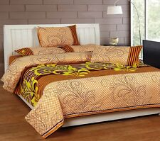 SYK Pure Cotton Double Bedsheet,Bedcover,Bed sheets with 2 Pillow Cover (026)