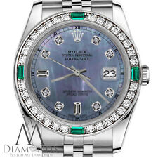Ladies Rolex 26mm Datejust Tahitian MOP Emerald 8+2 Diamond Dial RT Watch