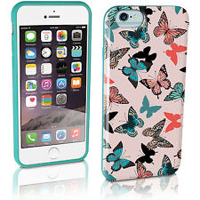 "Verde Acqua Farfalla Custodia Gel TPU per Apple iPhone 6 4.7"" Cover + Pellicola"
