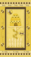 Bumble Bee Fabric - Bees Honeycomb Hive Buzz #6015 Bee Happy HG&Co - PANEL