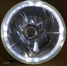 """7"""" Crystal Glass/Metal Halogen White LED Halo Headlight Fits Harley Motorcycle"""